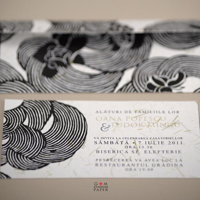 Invitatie de nunta tema alb negru