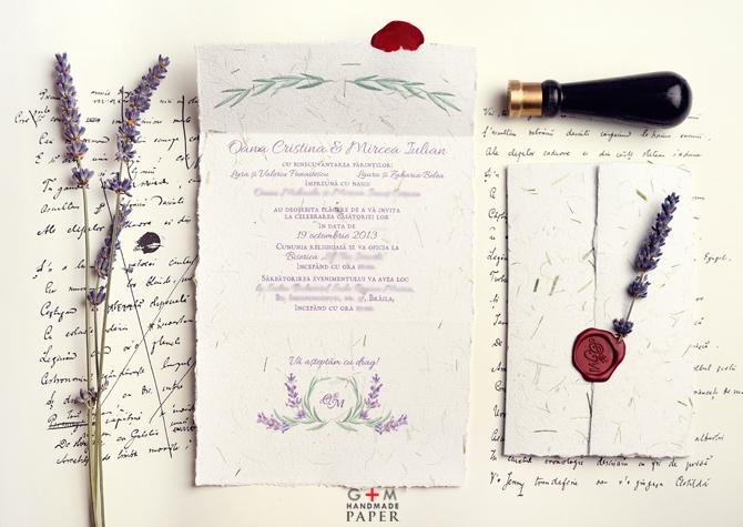 Invitatie tema nuntii lavanda
