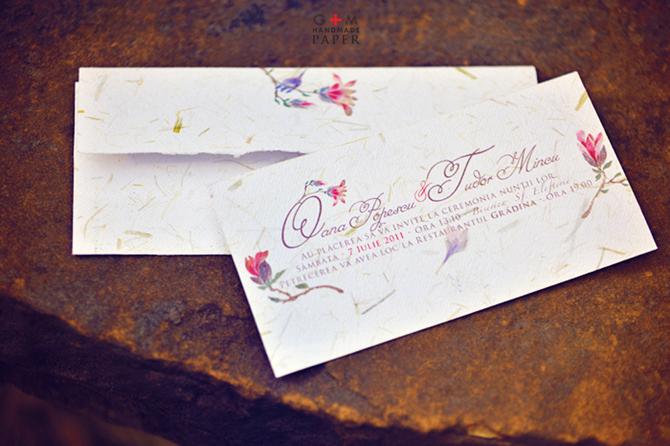 Invitatii nunta cu magnolie