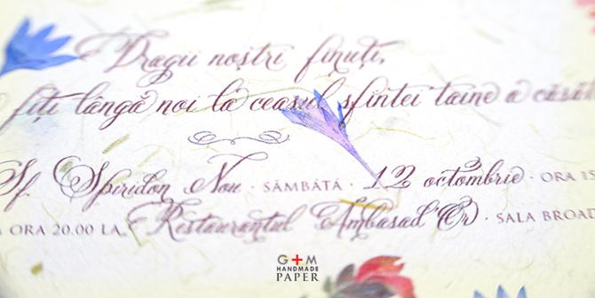 Invitatie de nunta cu flori naturale si ilustratii