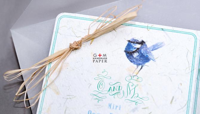 Pasare albastra si monograma pentru invitatie de nunta