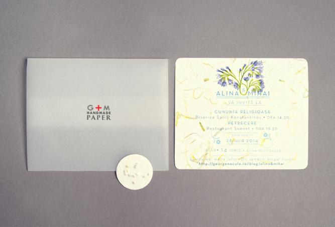 Invitatii de nunta originale cu hartie cu seminte