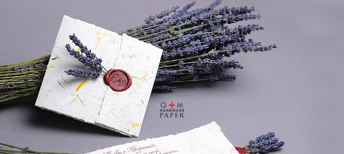 Invitatii Cu Lavanda Gm Handmade Paper