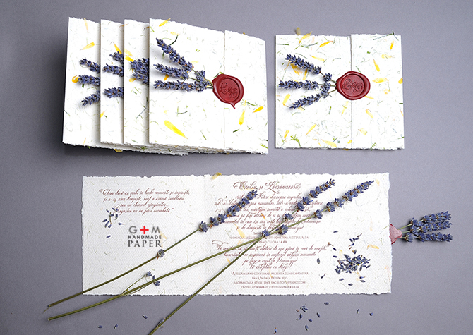 Wedding invitations with real lavender