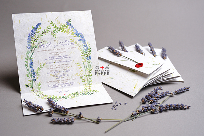Invitatie de nunta cu fir de levantica