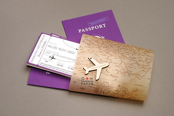 Travel theme wedding menu