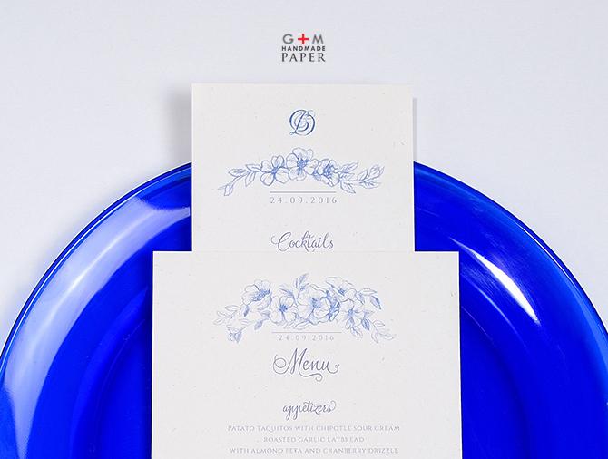 Meniu nunta cu flori albastre