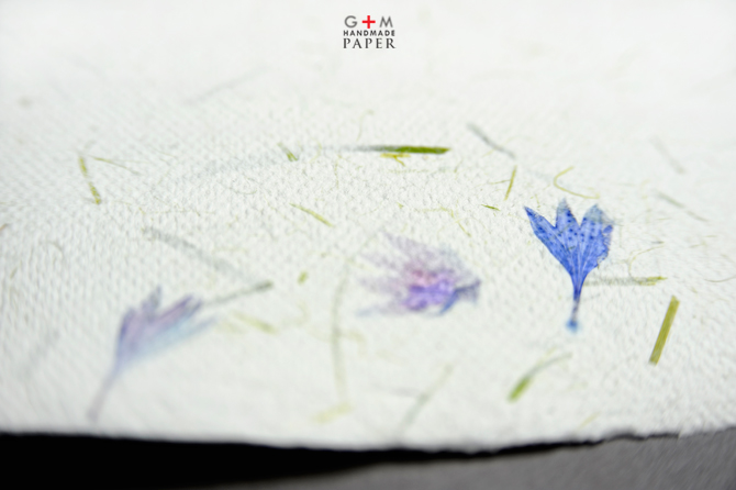 Blue flowers handmade paper