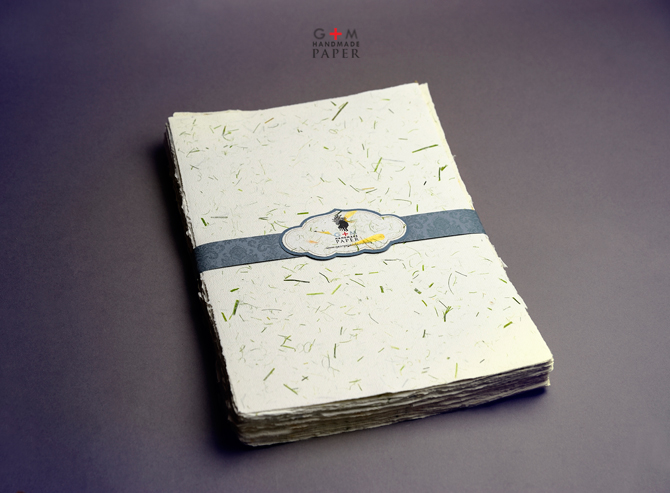 Green grass handmade paper package